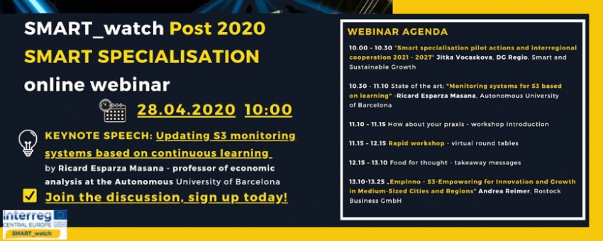 Webinar: »Updating SMART SPECIALISATION monitoring systems based on continuous learning«